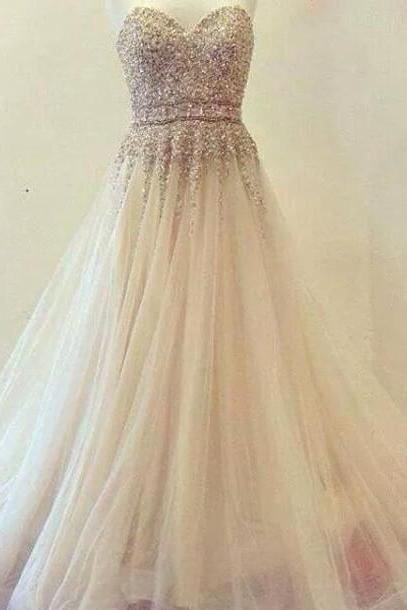 Charming Prom Dress,Sweetheart Prom Dress,Tulle Prom Dress,Beading Dress,A-Line Evening Dress,42612