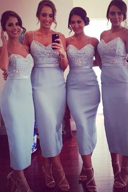 bridesmaid dress,Blue Bridesmaid Dress, Long Bridesmaid Dress,Spaghetti Straps Bridesmaid Dress,Sexy Bridesmaid Dress,42620
