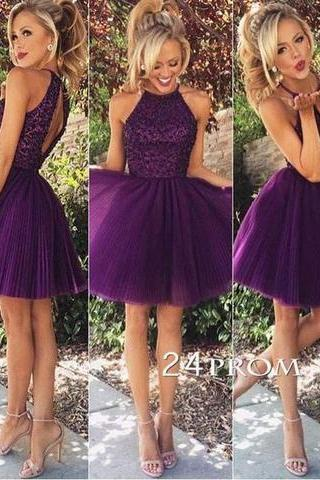 Purple sequin Tulle Short Prom Dress, Homecoming Dress,Beading Chic Party Dress,42805