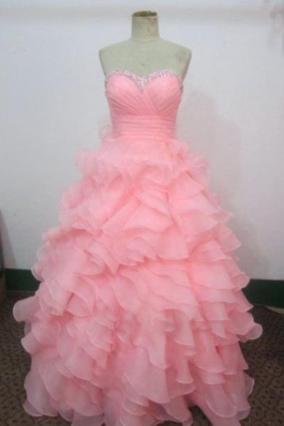 Pink Prom Dresses Ball gown Long Prom Dress,Strapless Formal Dress With Beading,50311