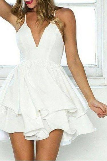 White Spaghetti Strap Two-layer Skater Dress,V-Neck Party Dress,Homecoming Dress,52002