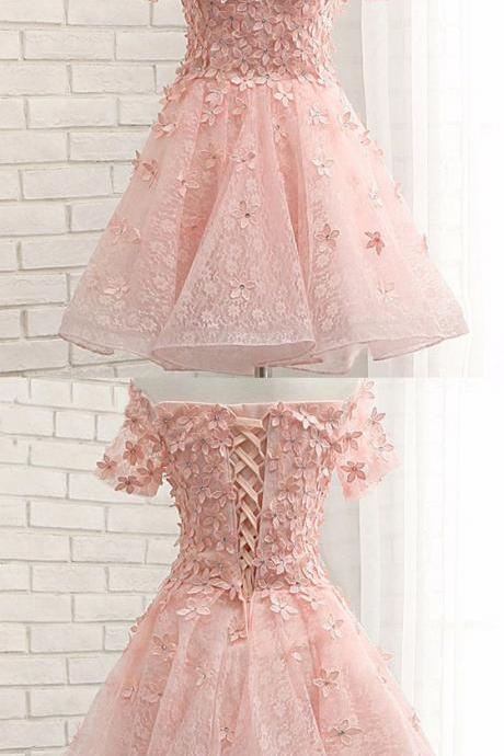 Pink Lace Homecoming Dresses, Off Shoulder Homecoming Dresses, Appliques Homecoming Dresses,53023