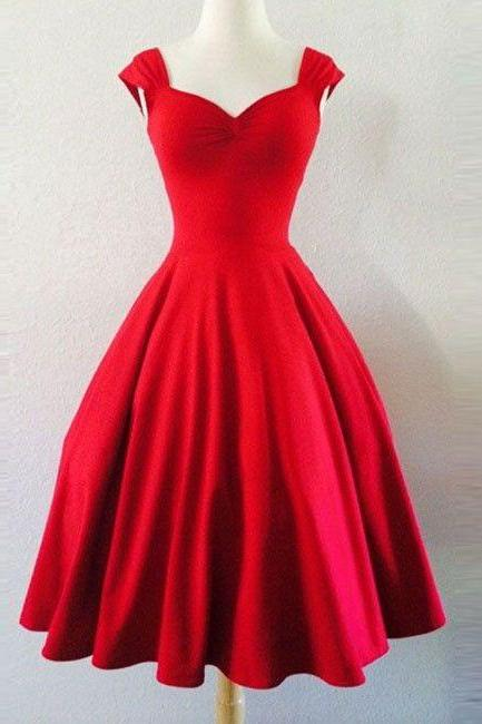 Custom made simple red sweetheart short prom dress, homecoming dress,53036