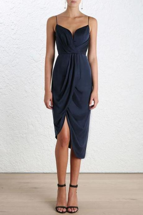navy-blue midi dress, beautiful evening dress,custom made party dress,53043