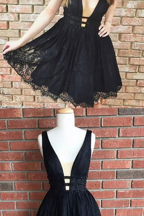 Cute Black Lace Homecoming Dress,Short V Neck Party Dresses,Short Prom Dresses,A Line Homecoming Dresses,53047
