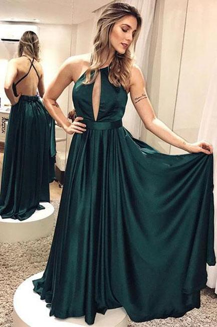 Simple Dark Green Backless Prom Dress,Long Evening Dresses,Cheap Prom Dress,83010