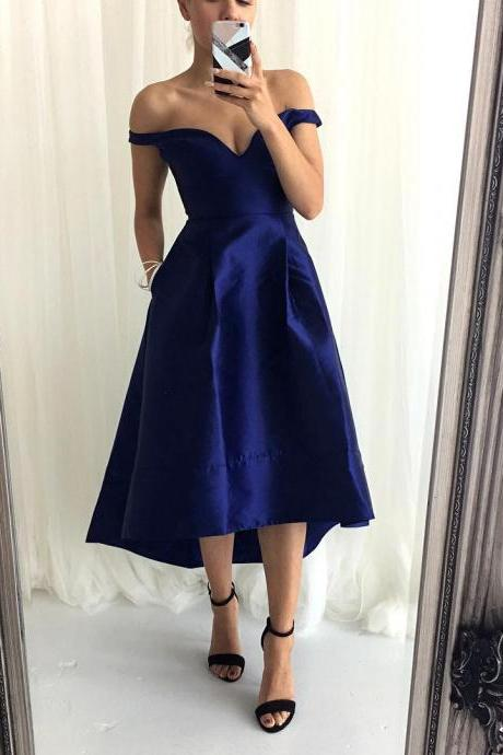 Off the shoulder High Low Bridesmaid Dress with Pockets,cheap prom dress ,Long Evening Dress,122321