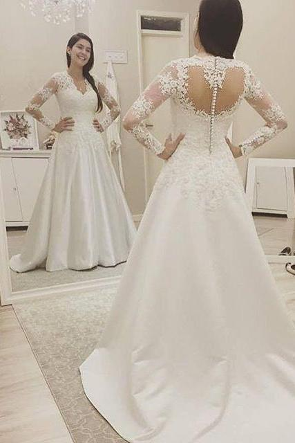 Modest White Long Sleeves Long Wedding Dress,Wedding Gowns,122329