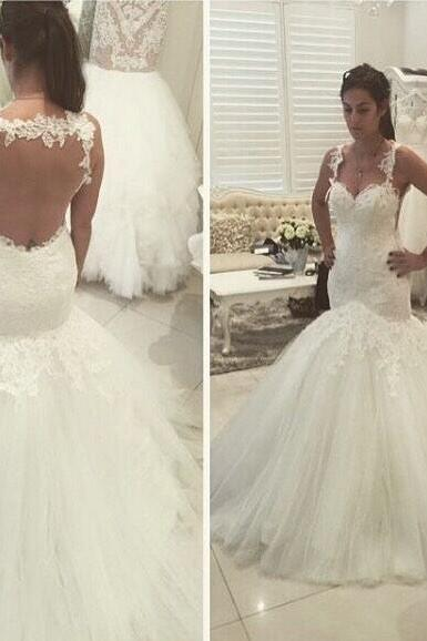 Elegant Mermaid Long White Wedding Dress Bridal Gown,Wedding Gowns,122330