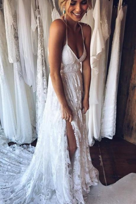 Deep V Neck A Line Wedding Dress,Sexy Lace Bridal Wedding Dresses Gown,Bridal Dress,Wedding Party Dresses,840333