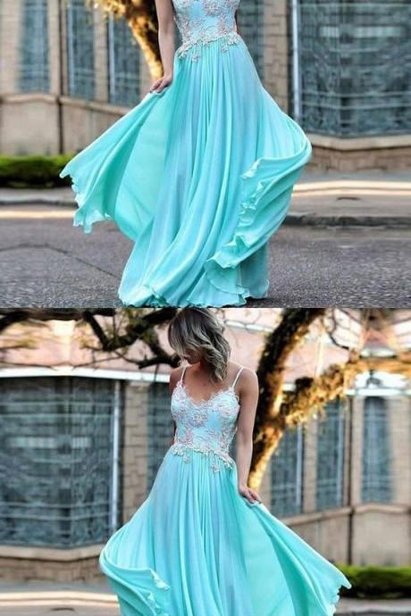 Elegant Spaghetti Strap V-neck Lace Appliques Chiffon High School Prom Dress,Cheap Prom Dress,Evening Dresses,Fashion Prom Dress,861233