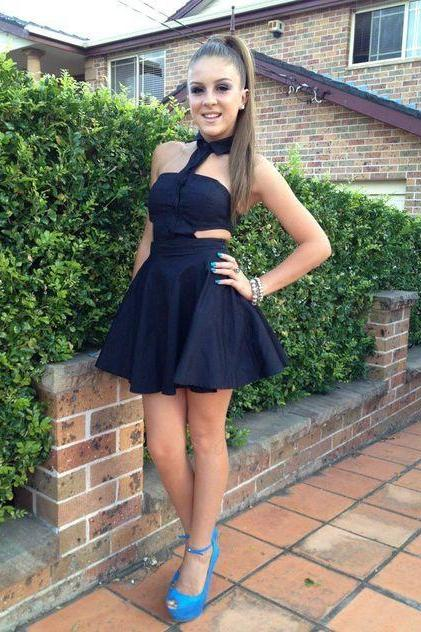 Black Halter Homecoming Dress,Mini Dress,Little Black Dress,Cheap Homecoming Dress,Short Homecoming Dress,862302