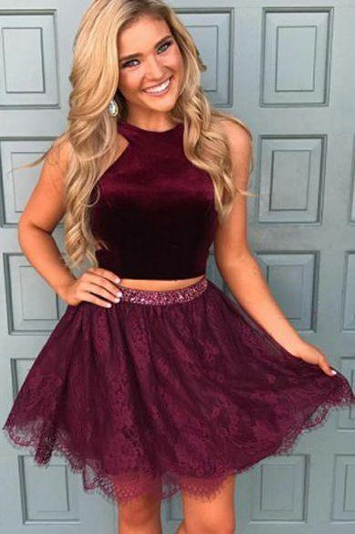Two Piece Lace Short Grape Homecoming Dress,Chic Sexy Homecoming Dress,Cheap Homecoming Dress,Short Homecoming Dress,862439