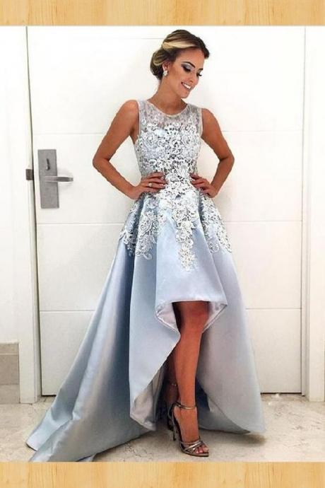 Light Blue Lace Prom Dress, High Low Prom Dress,Chic Sexy Homecoming Dress,Cheap Homecoming Dress,Short Homecoming Dress,862440