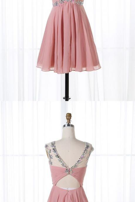 A-Line Blush Beaded Chiffon Homecoming Dress,Cheap Homecoming Dress,Short Graduation Dress,862447