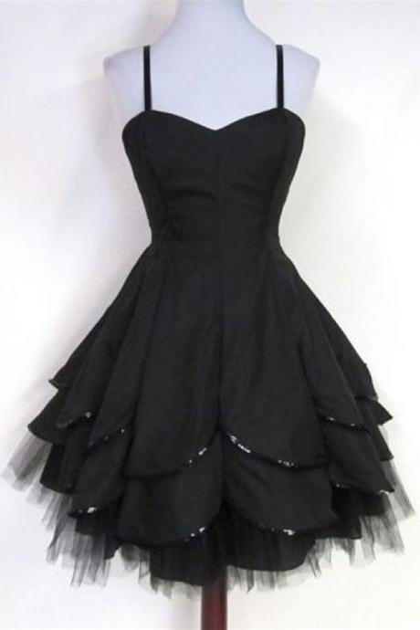 Cute Black A Line Homecoming Dress,Cheap Homecoming Dress,Short Graduation Dress,871012