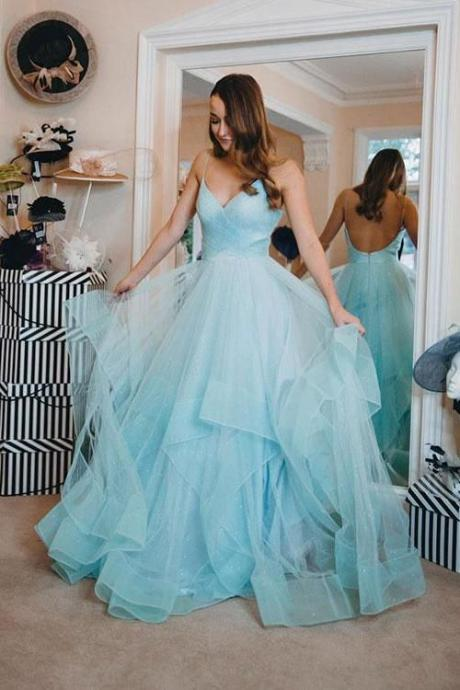 Light Blue Backless Prom Gown Spaghetti-straps Tulle Tiered Dance Dress, A-Line Formal Dress, evening dress,Sexy Evening Dress,Fashion Prom Dress,921804