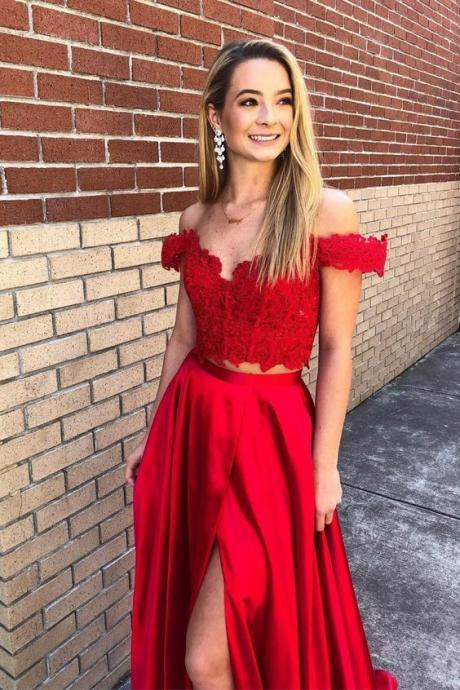 Off the Shoulder Two Piece Red Prom Dress, Elegant Long Party Dress, Sexy Evening Dress,Fashion Prom Dress,950202