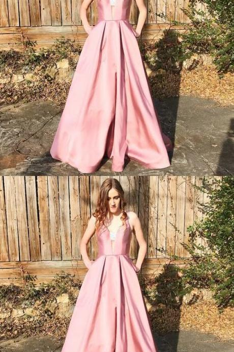 Unique Pink Long Prom Dress with Pockets,Sexy Evening Dress,Fashion Prom Dress,Cheap Prom Dress,950210