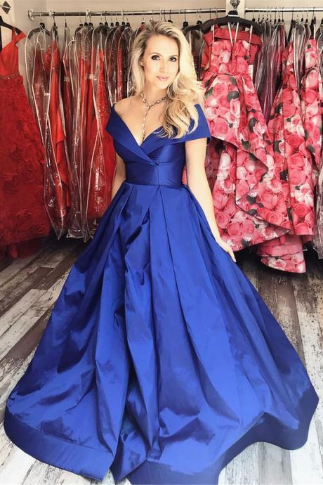 Off the Shoulder Royal Blue Long Prom Dress,Sexy Evening Dress,Fashion Prom Dress,Cheap Prom Dress,950212