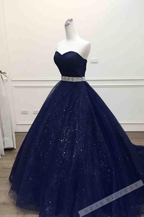 Dark blue tulle sweetheart sequins floor-length ball gown dress,41202