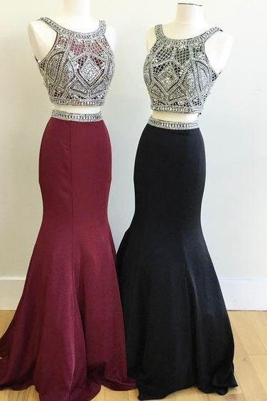 2 Piece Prom Gown,Two Pieces Prom Dresses,Burgundy Evening Gowns,2 Pieces Party Dresses,Burgundy Evening Gowns,Glitter Formal Dress,Sparkly Evening Gowns For Teens,41208