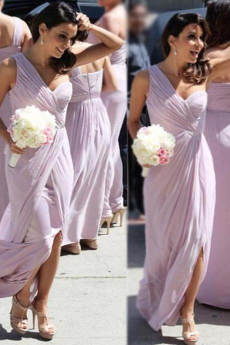 One Shoulder Bridesmaid Gown,Pretty Prom Dresses,Chiffon Prom Gown,Simple Bridesmaid Dress,412