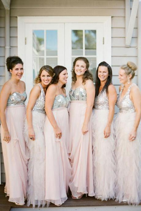 Blush Pink Bridesmaid Gown,Sequins Prom Dresses,Chiffon Prom Gown,Simple Bridesmaid Dress,412