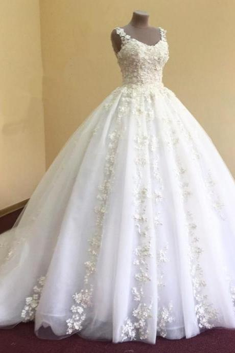 Wedding Gown,elegant lace appliques v neck white organza ball gowns wedding dress,214