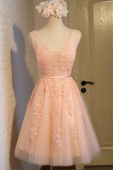 lace appliques bridesmaid dress,coral bridesmaid dress,women's party dress,short homecoming dress,short prom gowns,41430