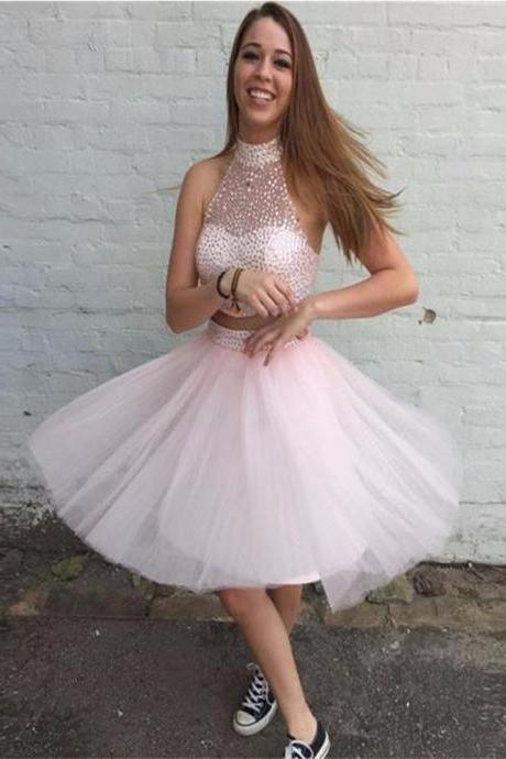 Prom Dress,Homecoming Dresses, Cocktail Dresses, 2 Piece Prom Dress,Pink Prom Dress,Short Prom Dresses,Custom Made Prom Dresses,Sexy Prom Dress,41440