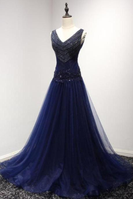Navy Tulle satin Woman Dress,Party Dress,Full Length Navy Tulle Dress, Lovely Prom Homecoming Dress,41914