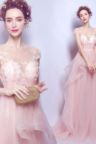 Pink Crystal Flower Princess Long Evening Dress Formal Gowns for Event,42121