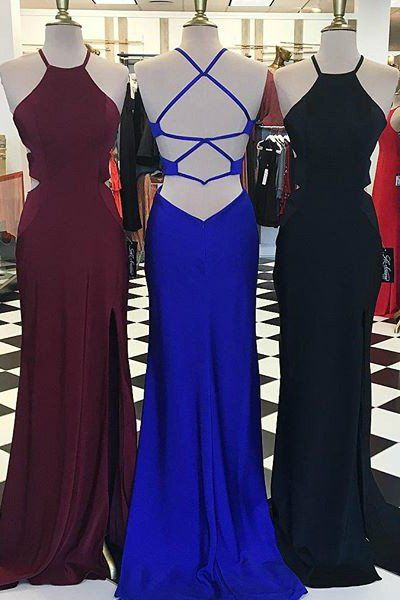 backless prom dress,formal dress with slit, mermaid prom dresses ball gown,4245