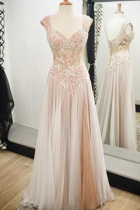 A-line Prom Dresses with Lace Appliques, Noble Long Prom Dress with Low Back, Cap Sleeve Prom Gowns, 4246