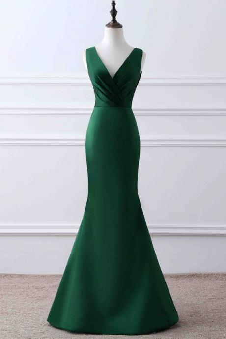 Simple green satin prom dress, mermaid ball gown, elegant v-neck long dress for prom,42417