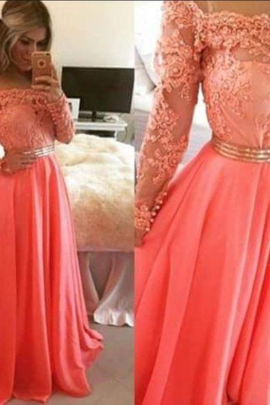 Off Shoulder Party Dress, Lace Prom Dress,Long Sleeve Evening Dress,42425