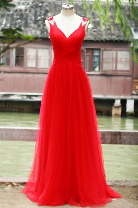 Pretty Red Tulle Long Sweetheart Open Back Prom Gowns,Red Formal Gowns, Evening Gowns, Formal Gowns,42428