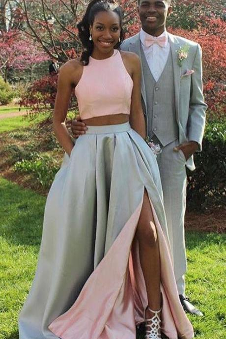 two piece prom dresses,simple prom dresses,split prom dresses,cheap prom dresses,42515