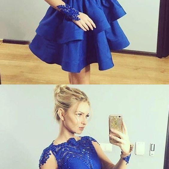 A-Line Bateau Long Sleeves Royal Blue Satin Short Homecoming Dress with Appliques , Cheap Homecoming Dress,Short Homecoming Dress,862305