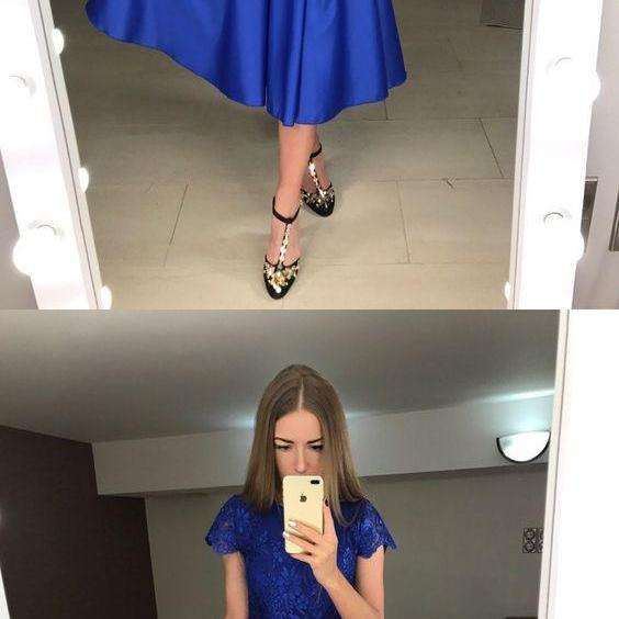 A-Line Round Neck Short Sleeves Mid-Calf Royal Blue Satin Prom Dress,Cheap Homecoming Dress,Short Homecoming Dress,862417