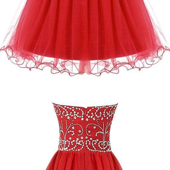 A-Line Sweetheart Short Red Tulle Dress with Beading,Cheap Homecoming Dress,Short Homecoming Dress,862418
